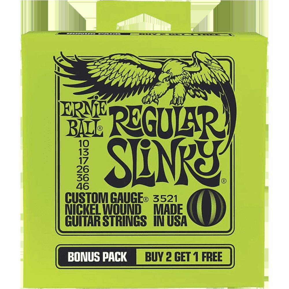Ernie Ball Regular Slinky Nickel Wound Electric 10-46 - Bonus Pack