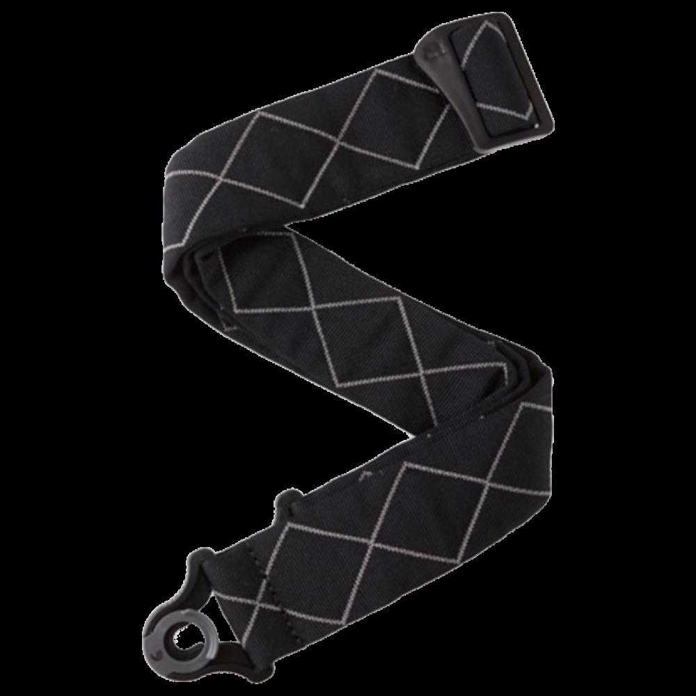 D'Addario Auto Lock Guitar Strap - Black Padded Diamonds