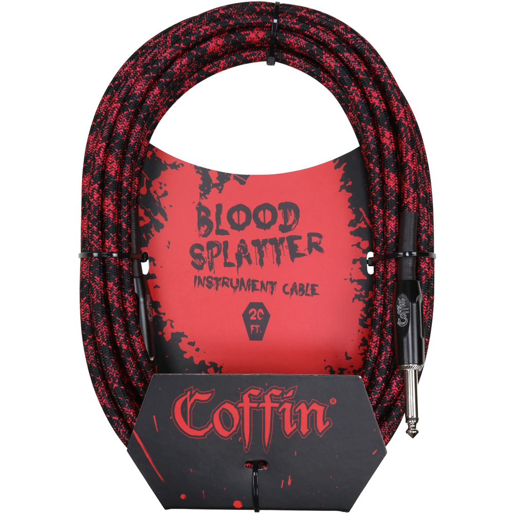 Coffin Bloodsplatter Instrument Cable 20ft Straight