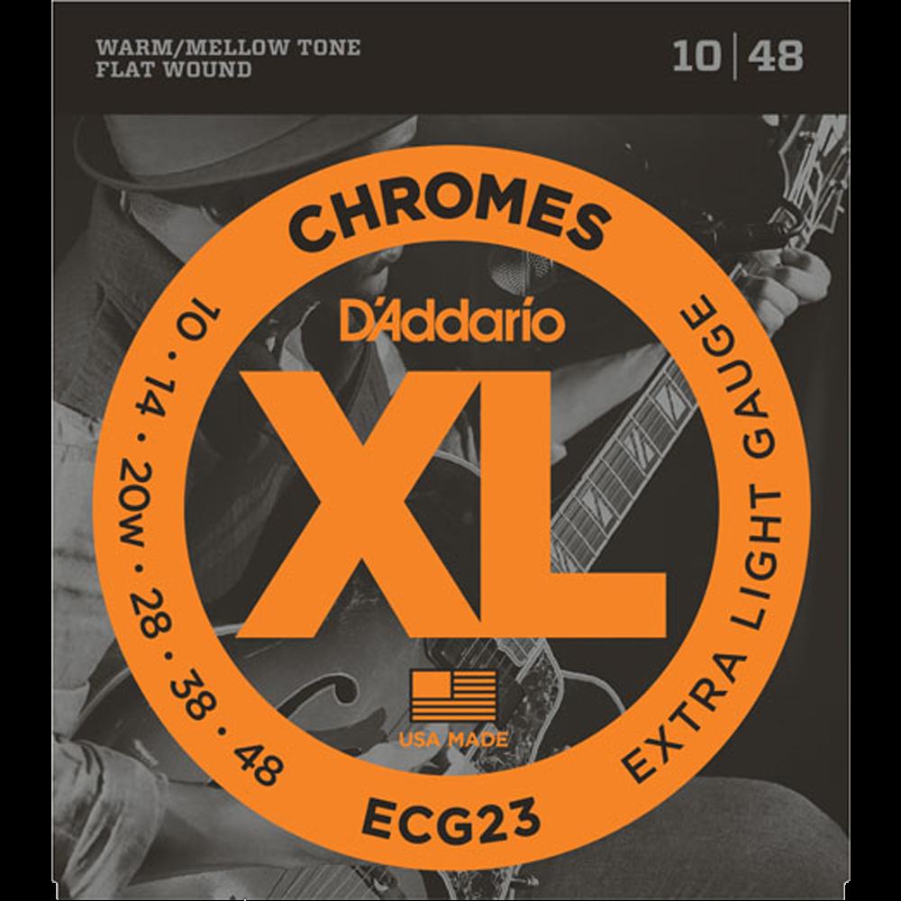 D'Addario XL Chromes Flat Wound Electric Guitar Strings