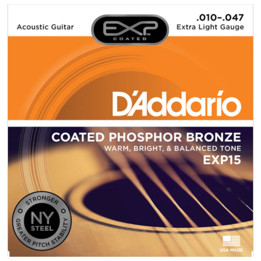D'Addario EXP15 Coated Phosphor Bronze Acoustic Guitar Strings Extra Light 10-47
