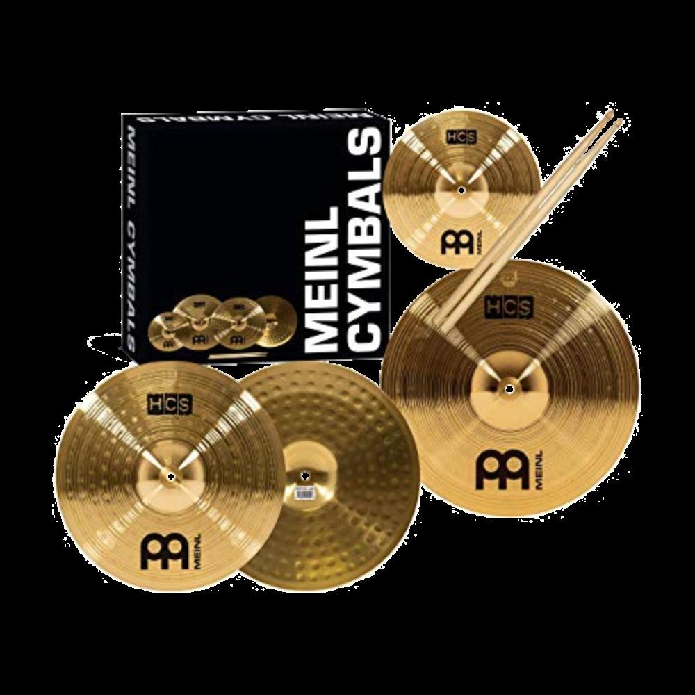 Meinl HCS Cymbal Pack 13 HH,14 Crash, 10 Splash, Promark 5A, 3 Lesson