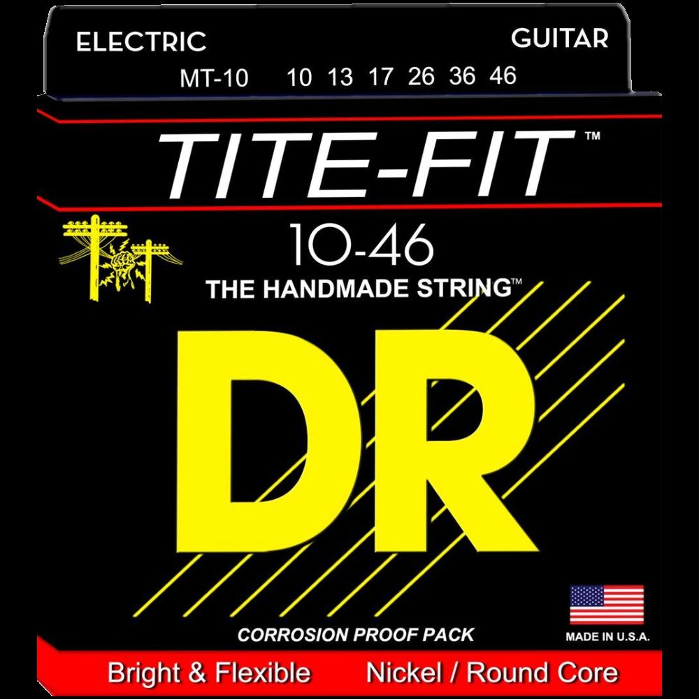 DR Strings TITE-FIT Medium-Tite MT-10 Nickel Electric Guitar Strings 10-46