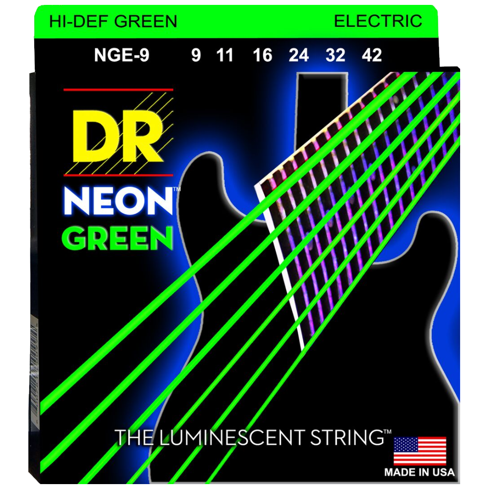 DR Strings NGE-9 Neon Green Coated Nickel Electric Guitar Strings 09-42