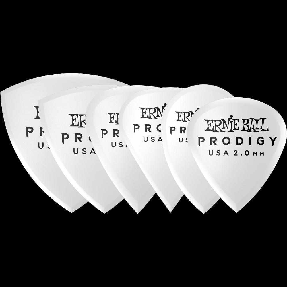 Ernie Ball Prodigy 2.0mm White Multi Pack Picks 6-pk