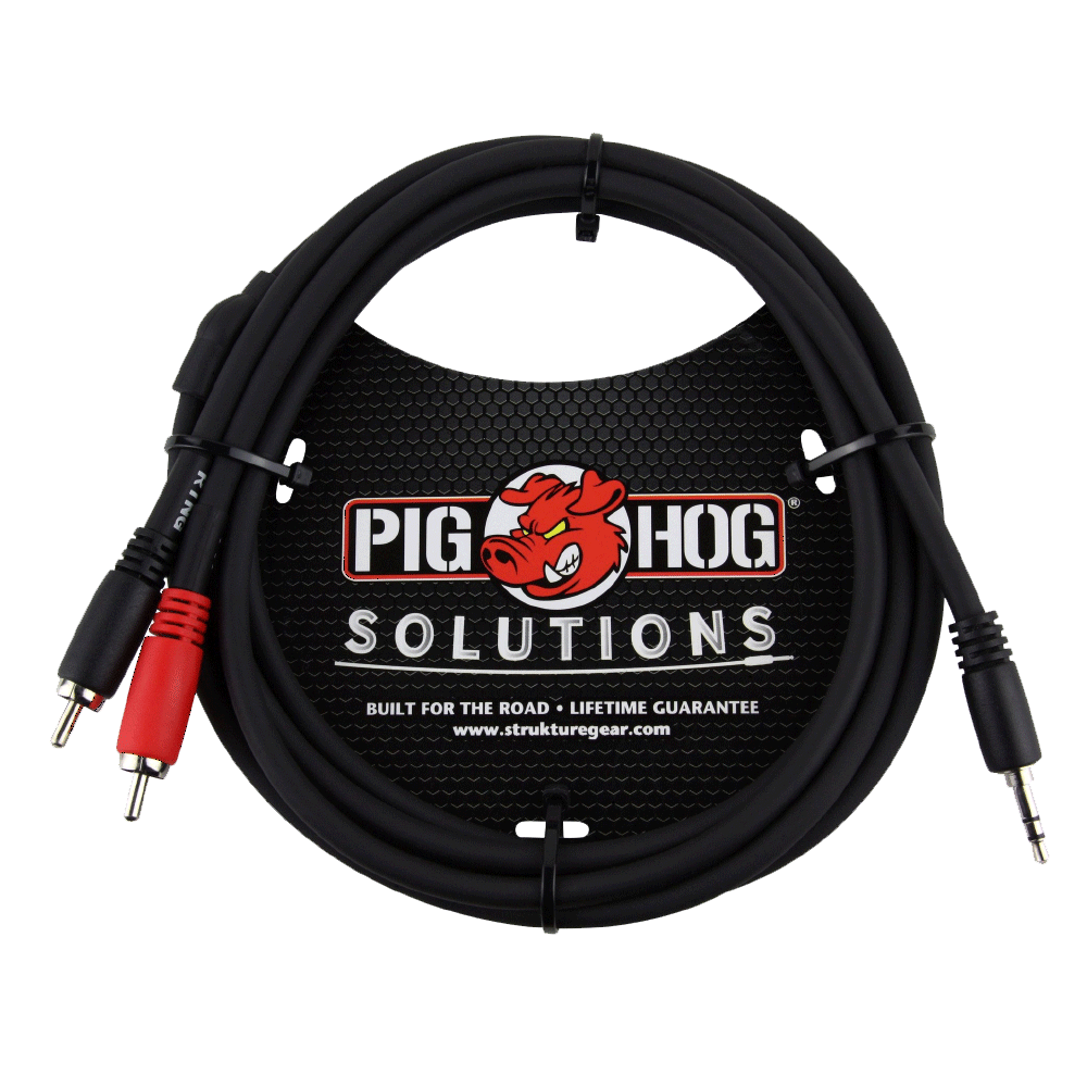 Pig Hog Solutions - 6ft Stereo Breakout Cable 3.5mm to dual RCA