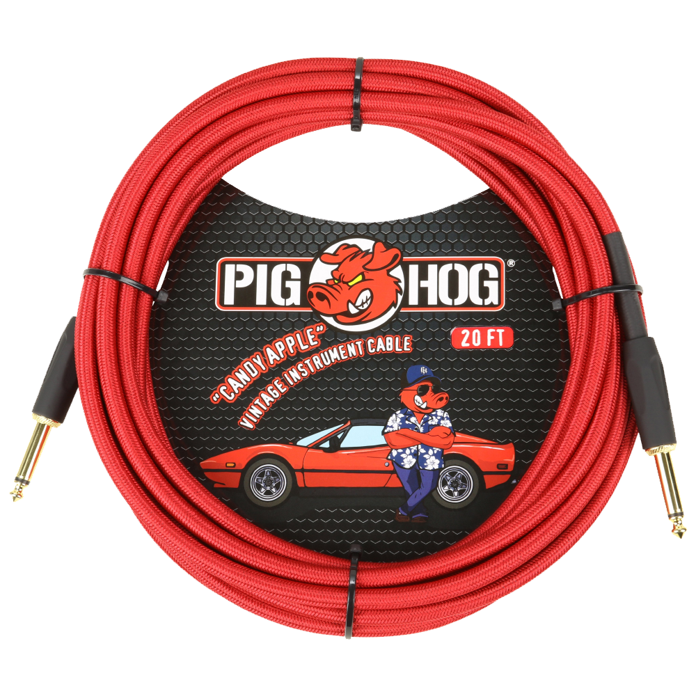 Pig Hog Instrument Cable Candy Apple Red 20ft