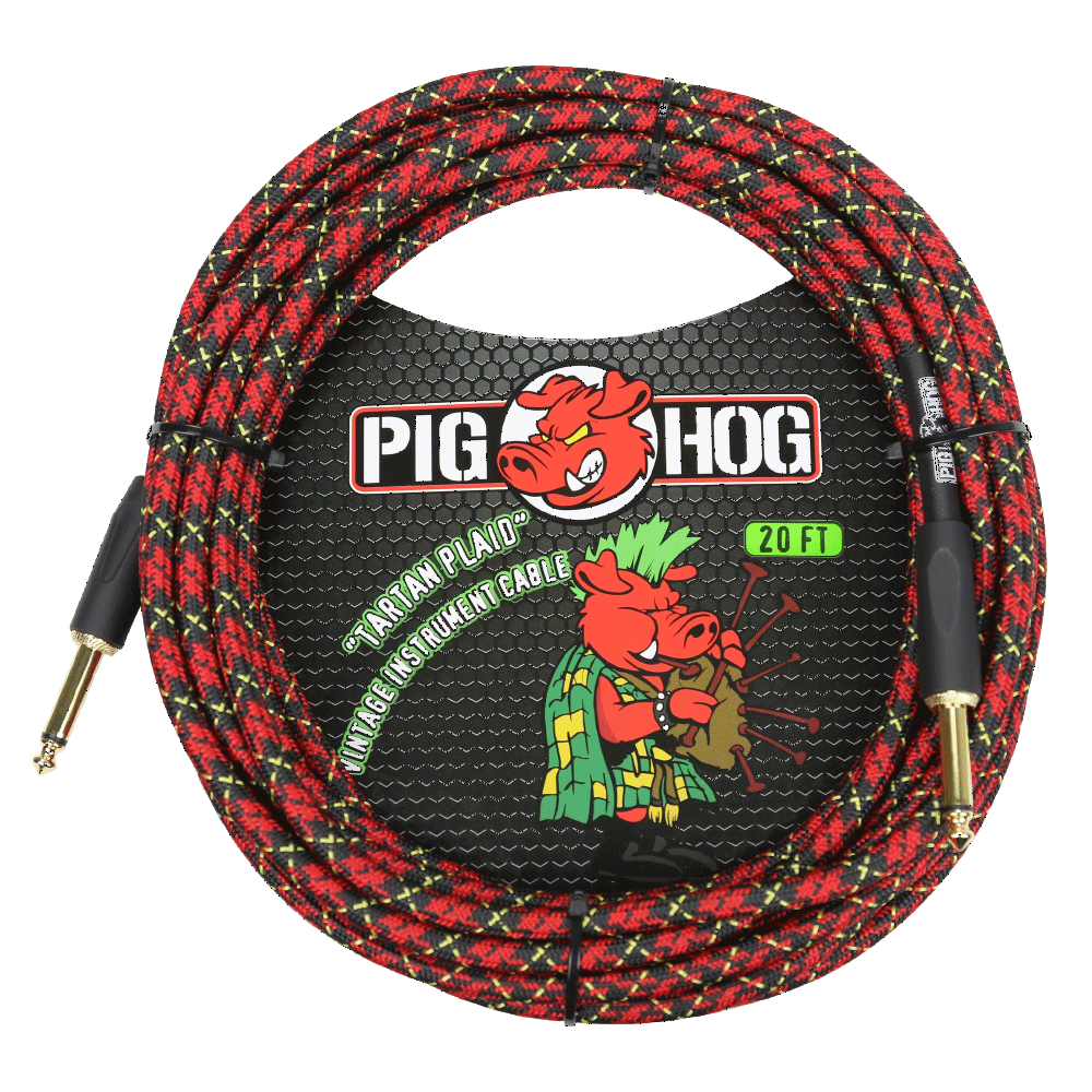 Pig Hog Instrument Cable Tartan Plaid 20ft