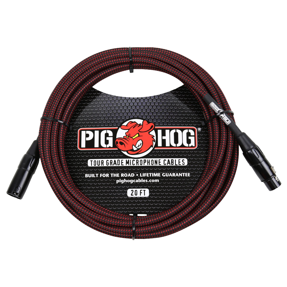 Pig Hog Mic Cable Black & Red Woven XLR 20ft