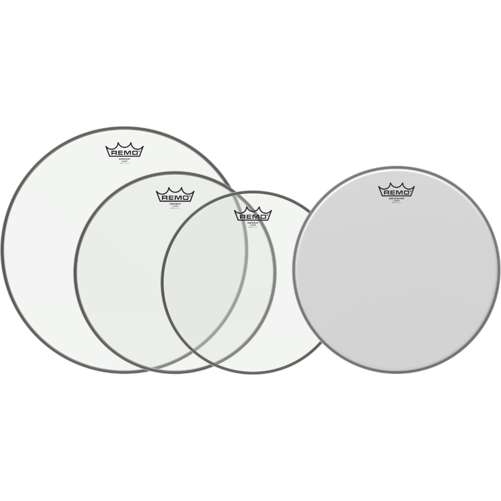 Remo Emperor Clear 4-piece Tom Pack - 12/13/16 inch and 14 inch Coated Ambassador