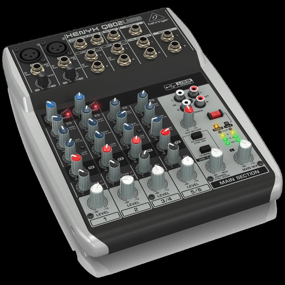 Behringer XENYX Q802USB 8-Input 2-Bus Analog Mixer