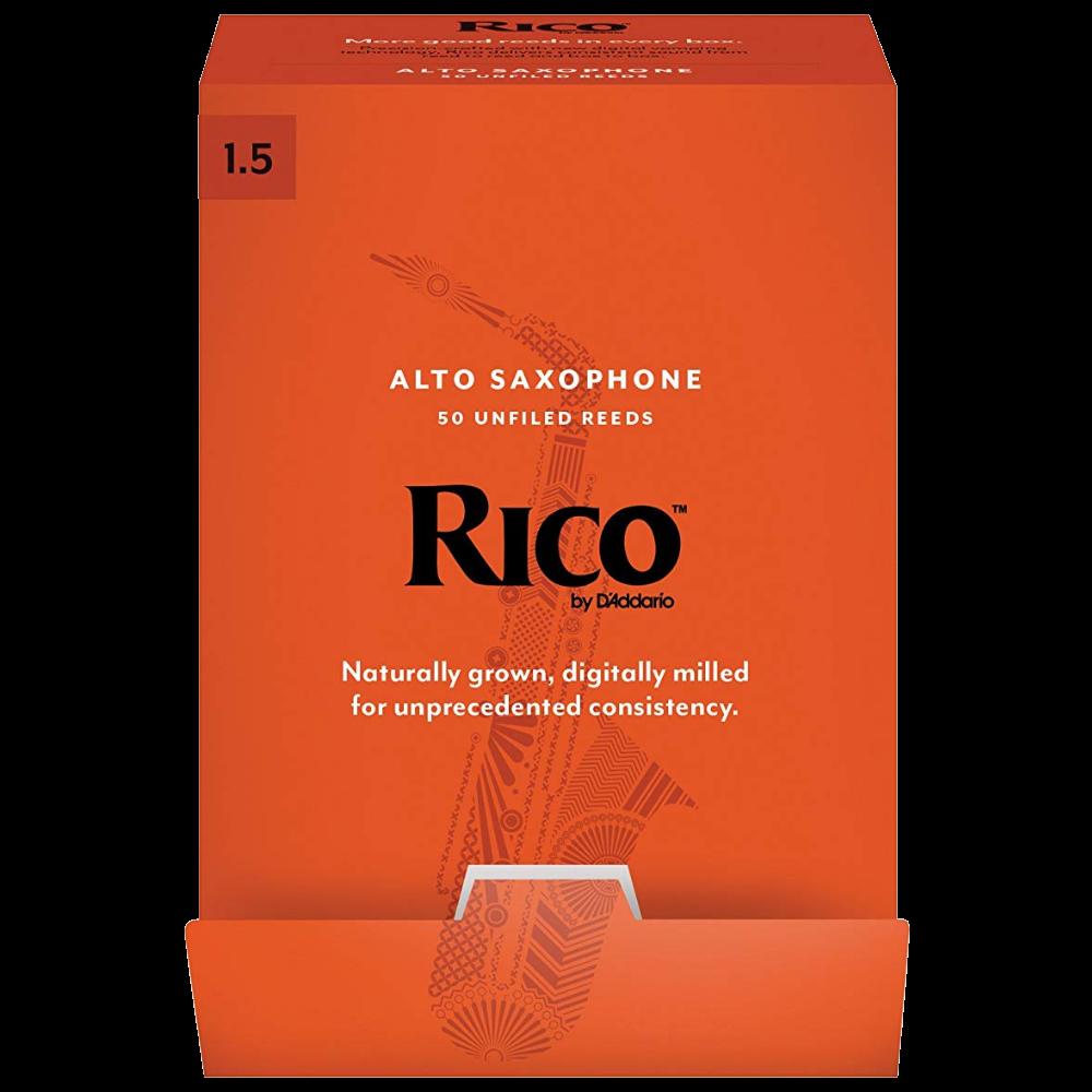 Rico by D'Addario Alto Sax Reeds 50-pack, Strength 1.5