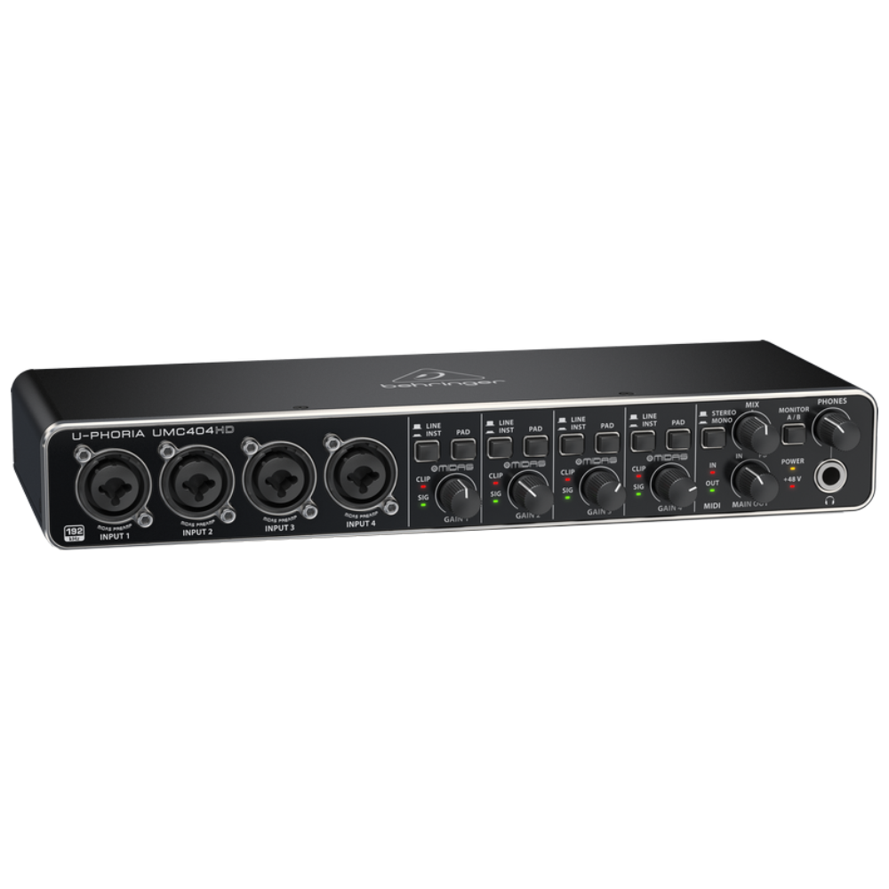 Behringer UMC404HD Audiophile 4x4 USB Audio Interface w/Midas Mic Preamplifiers