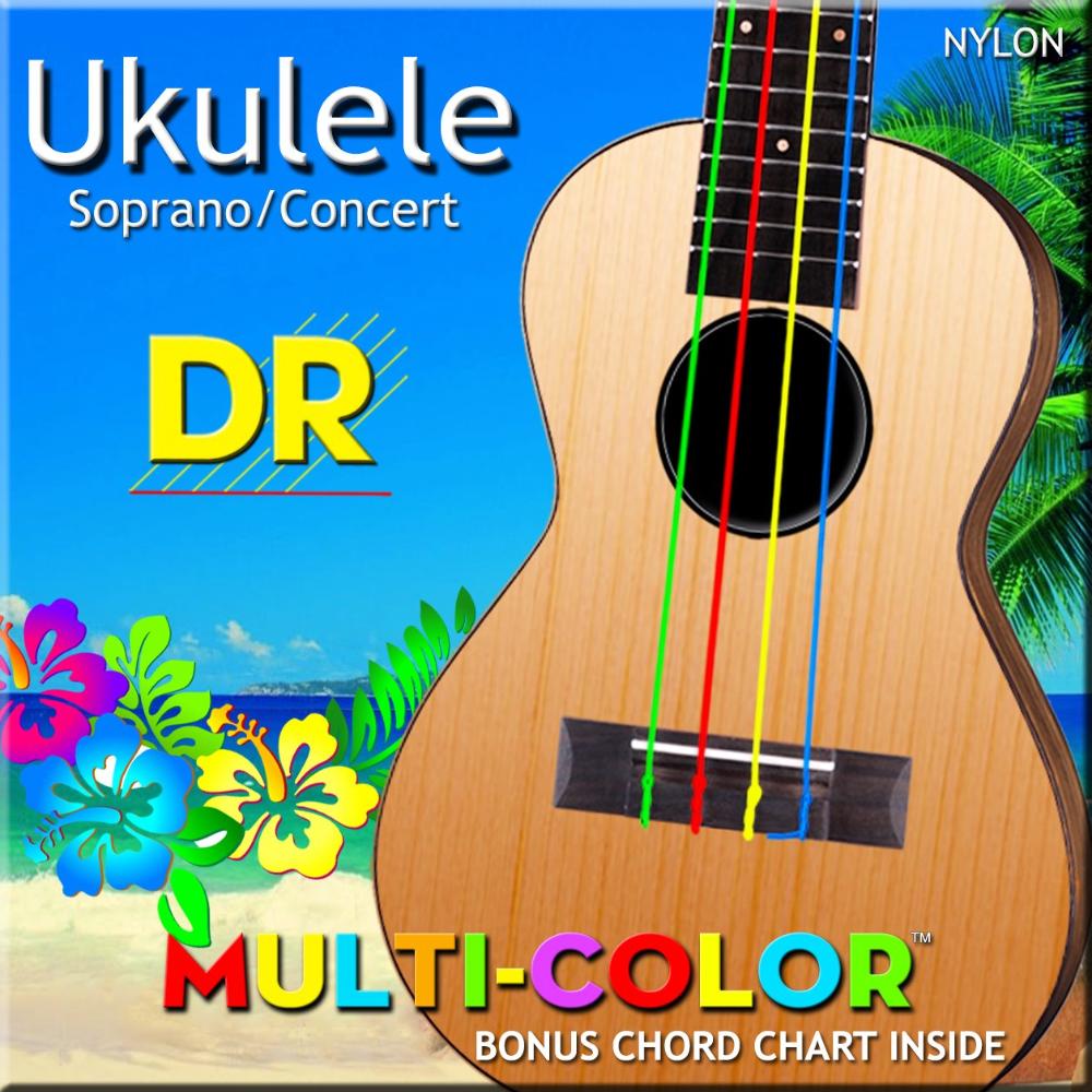 DR Multi-Color Nylon Ukulele Strings, Soprano/Concert