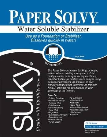 Sulky Paper Solvy Water Soluble 8.5 in x 11 in 12 ct
