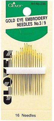 Gold Eye Embroidery Needles Sizes 3-9