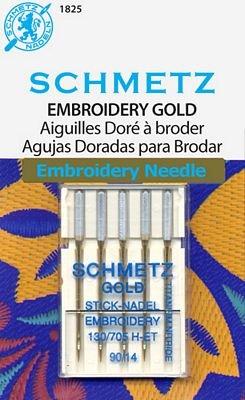 Schmetz Gold Titanium Embroidery Size 90/14 5 pack