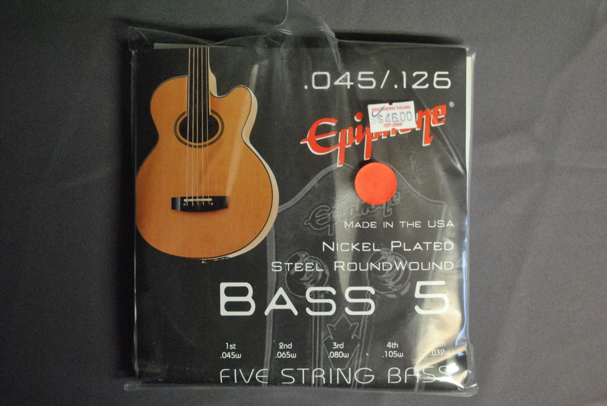 Epiphone Nickel Plated Steel Round Wound Electric Bass, 5-String