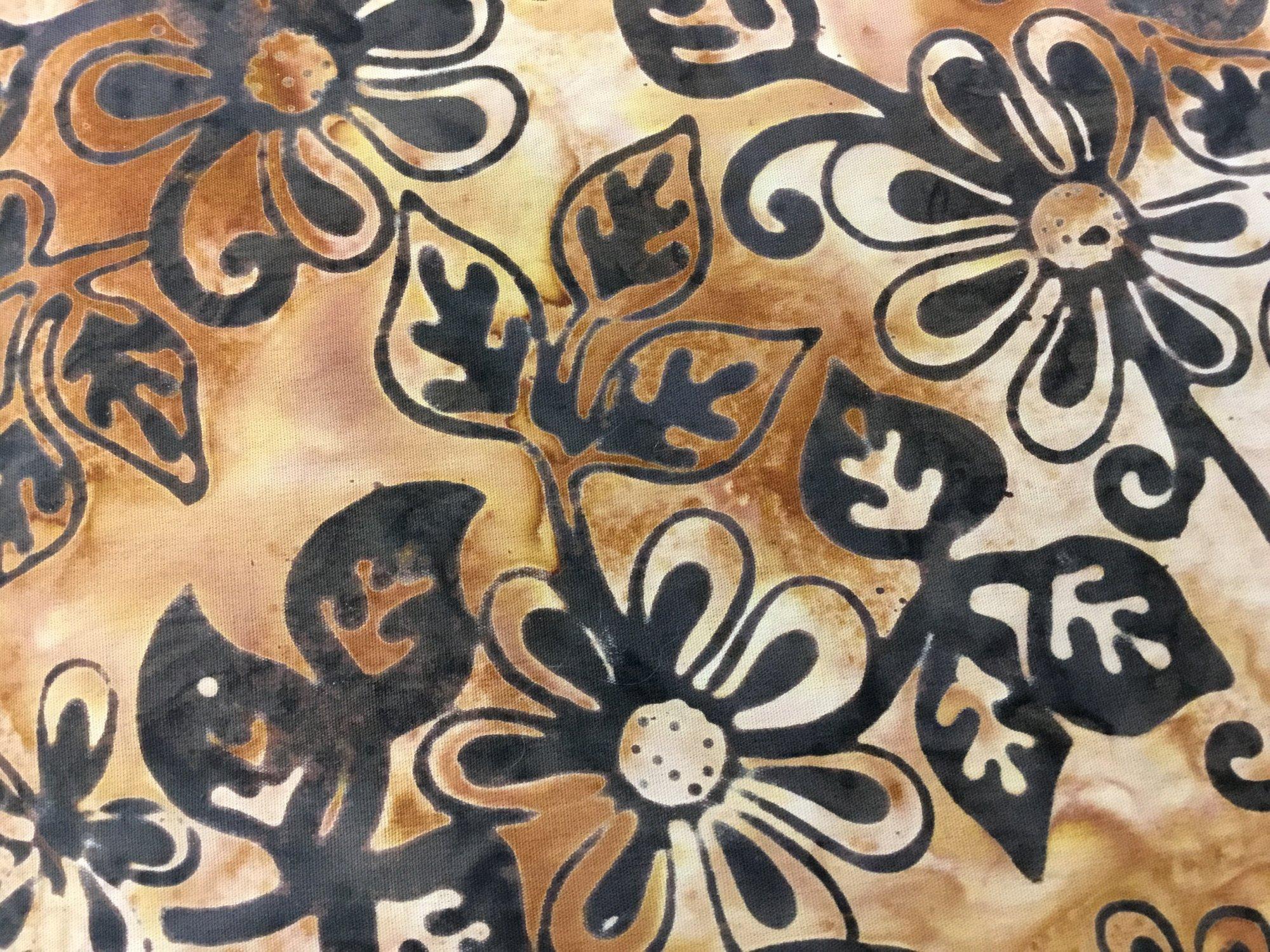 Batik Textiles - brown flowers