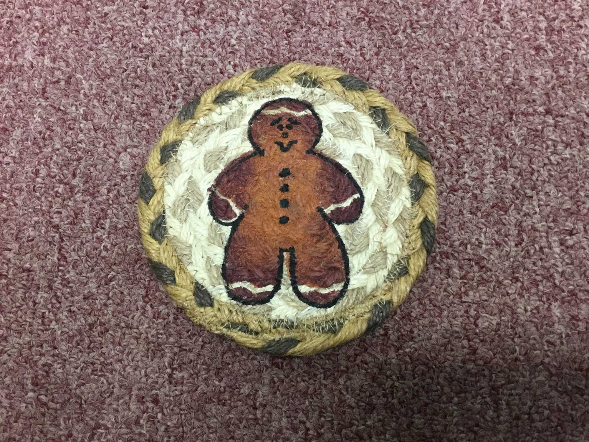 Gingerbread Man 5 Coaster Rug Starter