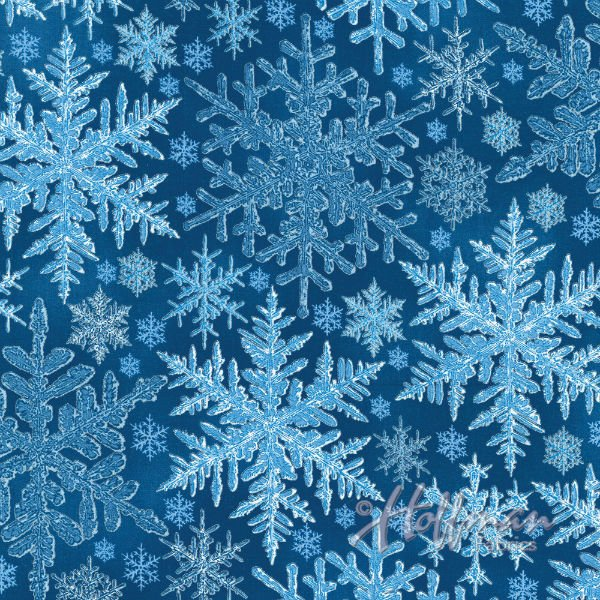 Hoffman P7602 Blue-Silver Snowflakes