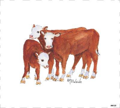 Quilt Block Art White Faced Cattle