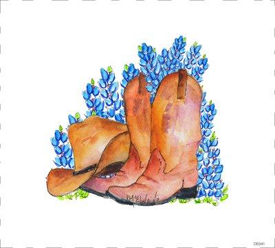 Quilt Block Art Boots & Bluebonnets