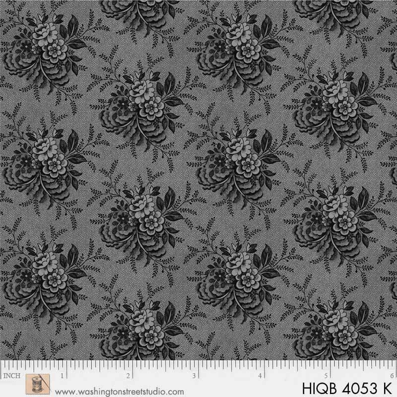 108 Floral Quilt Back Black