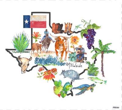Quilt Block Art Texas Map