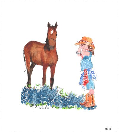 Quilt Block Art Girl With Horse