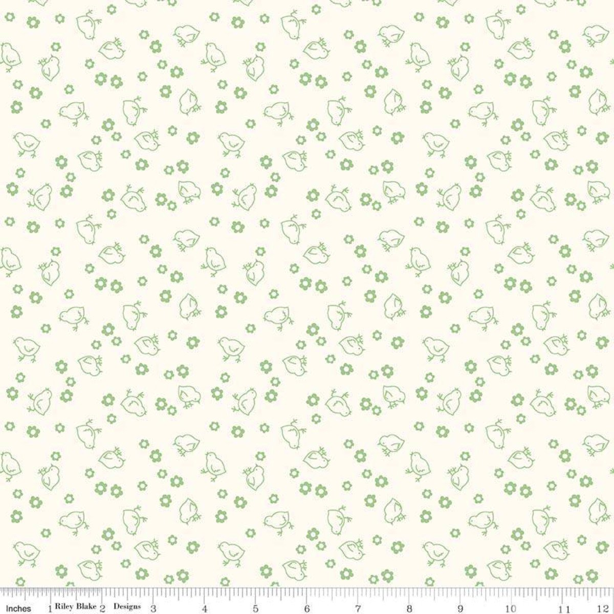 108 Chick Quilt Back Green