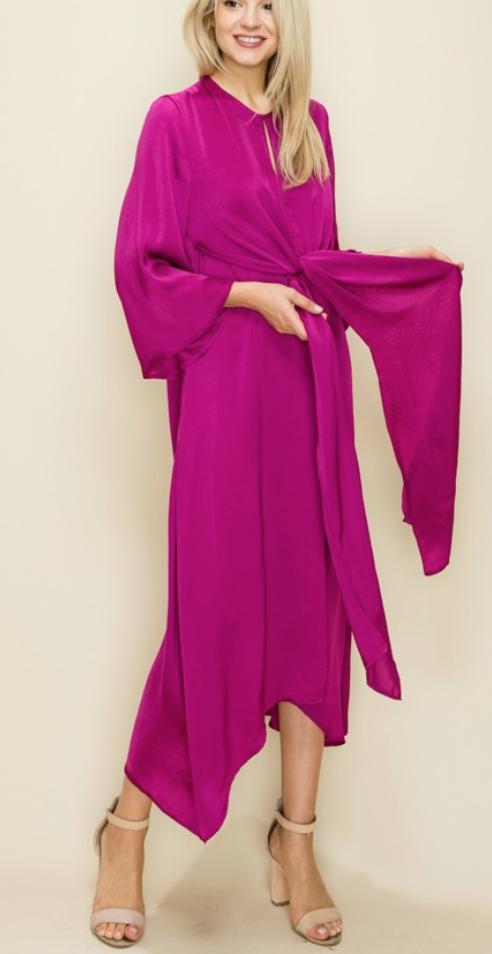 Magenta Knot Waist Dress