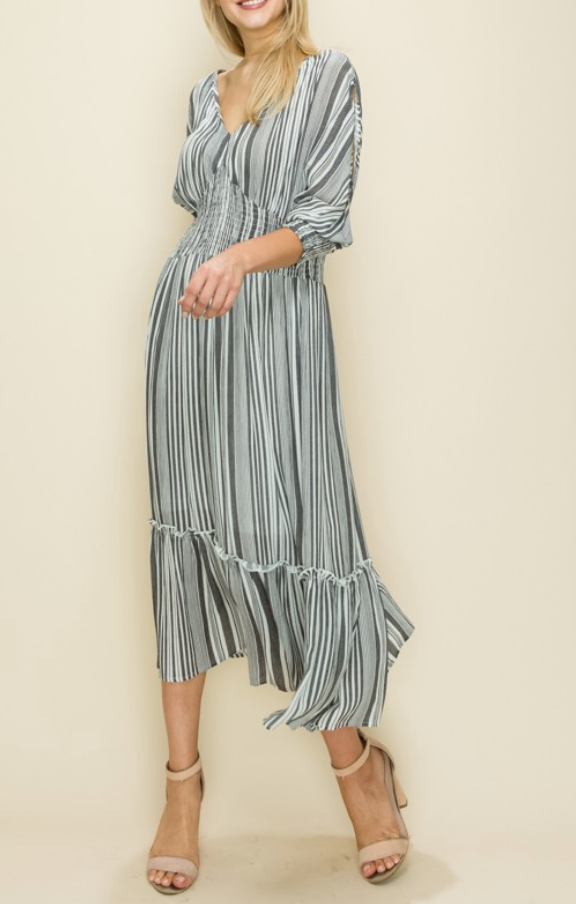 Stripe Ruffle Midi Dress