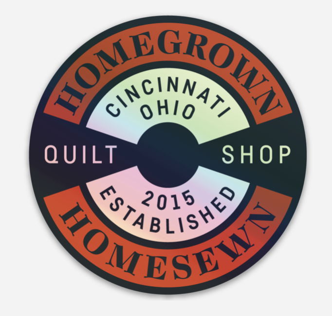 HomeGrown HomeSewn Circle Logo Holographic stickers
