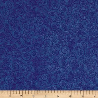 Fabric, blue curly scroll
