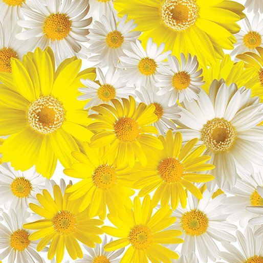 Fabric Oops a Daisy white and yellow