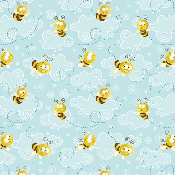 Fabric Frogland Friends light blue yellow bees