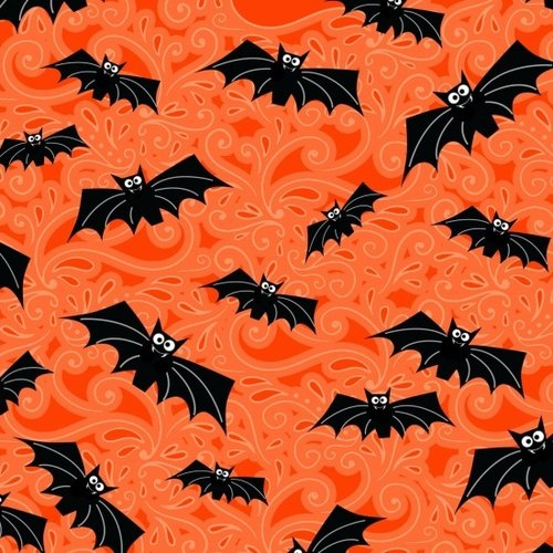 Fabric Fangtastic orange black bats