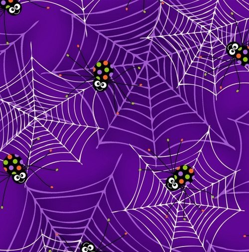 Fabric Fangtastic with glow, purple white spider webs