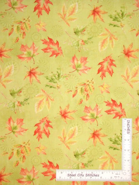 Fabric, Wilmington Prints Fall Festival orange green gold