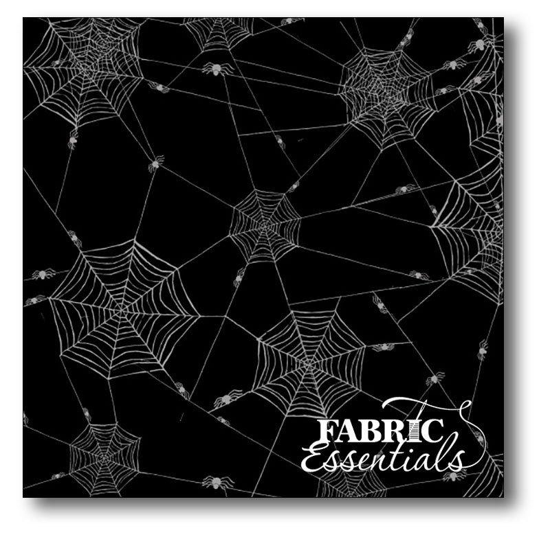 Fabric, Black white spider webs