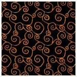 Fabric, Witchy black orange scroll