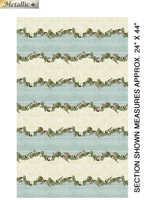 Fabric Chickadees Stripe SeaMist 4210M 52