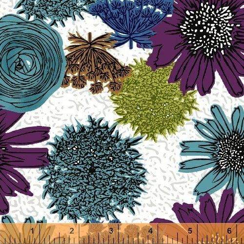 Fabric, Makers Home Blue Green Purple Flowers
