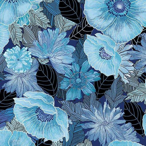 Fabric, Midnight Poppies Blue