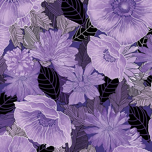 Fabric, Moonlit Poppies Purple