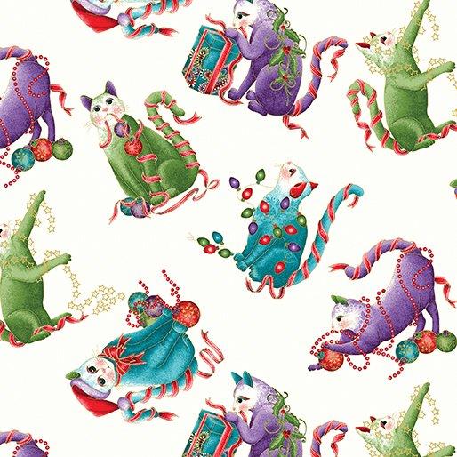 Fabric Cat-i-tude Xmas 6745M-9