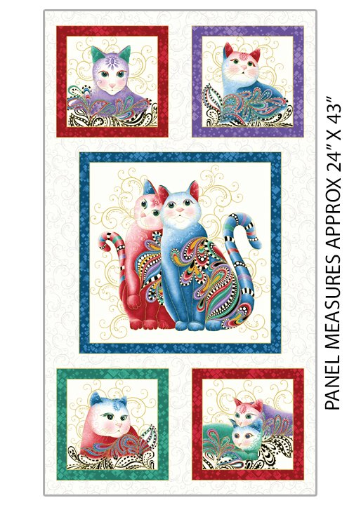 Fabric Purr Fect Together Panel 7550M-09