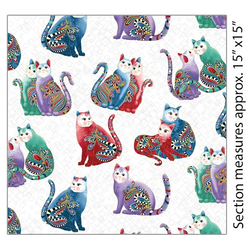 Fabric Playful Cats 7559M09