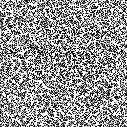 Fabric Packed Ferns White/Black 07797-99